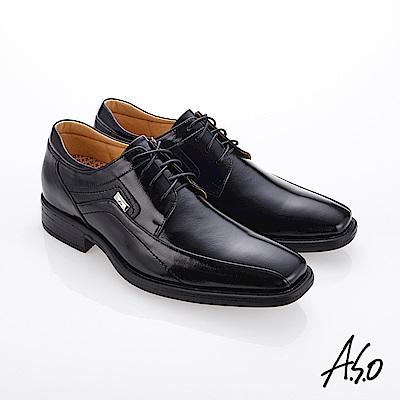 A.S.O霸足氣墊 綁帶鏡面牛皮紳士鞋 黑