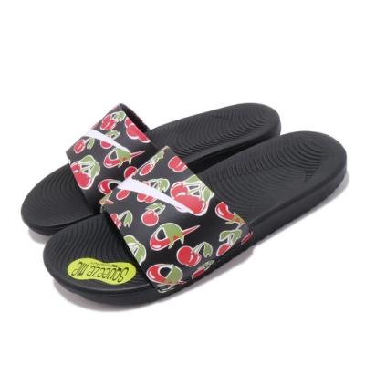 Nike 涼拖鞋 Kawa Slide SE 套腳 女鞋 輕便 舒適 水果印花 中大童 夏日穿搭 黑 白 CJ4123001