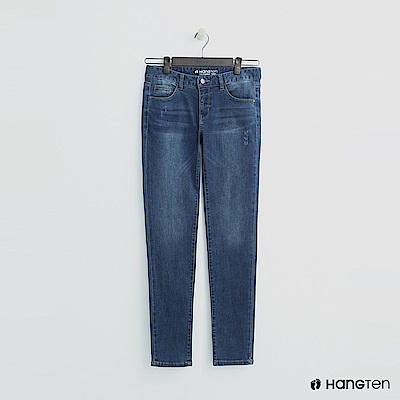 Hang Ten - 女裝 - 微磨破刷色牛仔褲 - 深藍