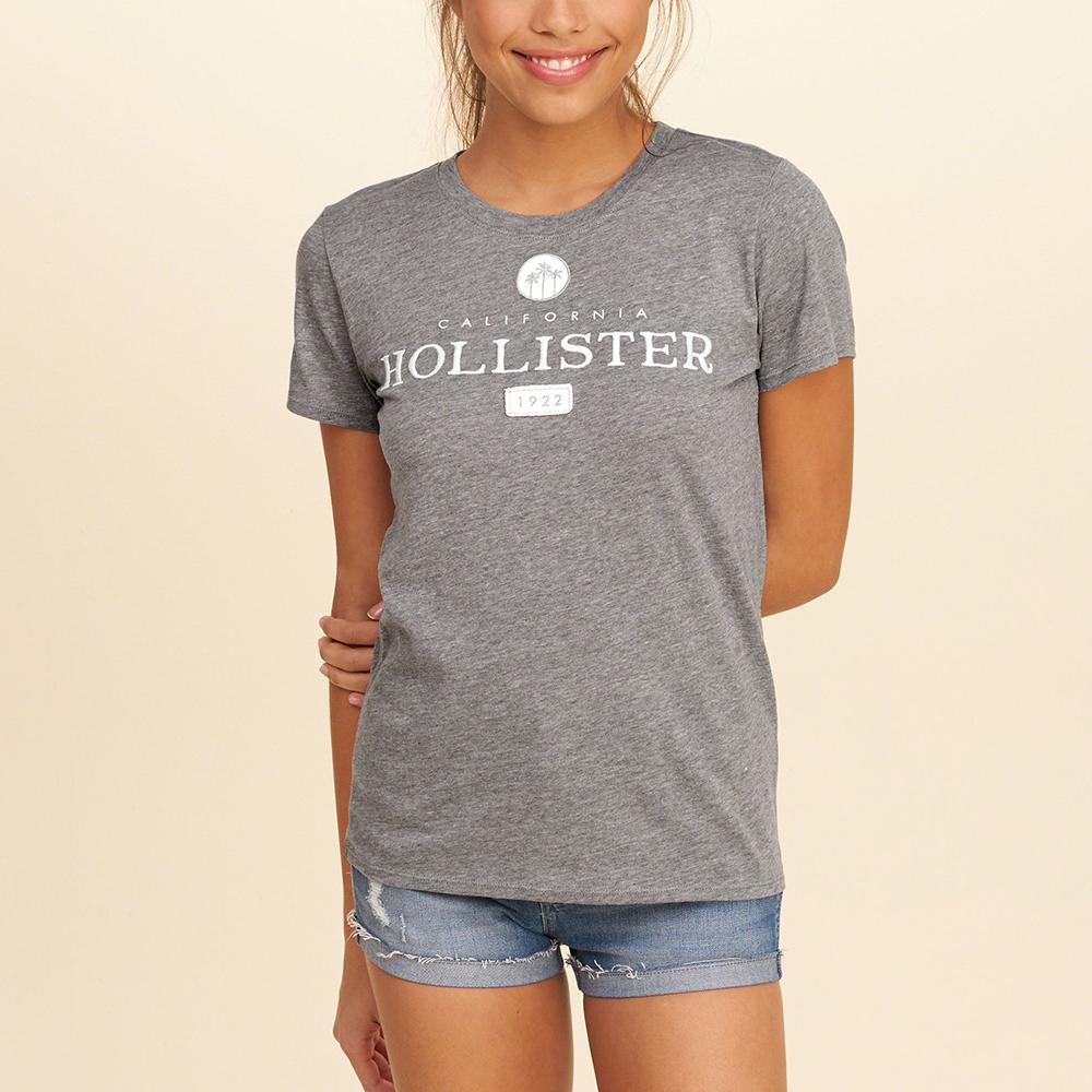 海鷗 Hollister 經典印刷文字設計短袖T恤(女)-灰色