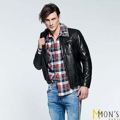 MONS  羔羊毛領飛行員皮衣夾克外套(100%羊皮)