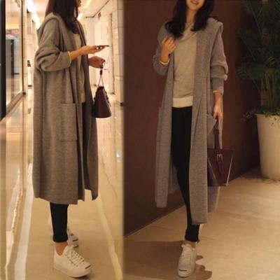 【韓國K.W.】寬鬆素色連帽韓國首爾針織外套-1色