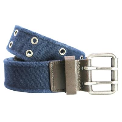 CH-BELT雙排鉚釘造型純棉織帶腰帶皮帶(藍)