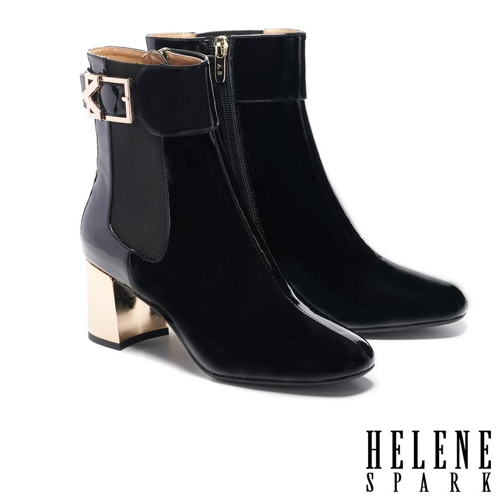 短靴 HELENE SPARK 復古時髦純色繫帶造型高跟短靴-黑