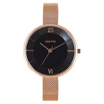GOTO Marine 海洋系列精品時尚手錶-IP玫x黑/33mm