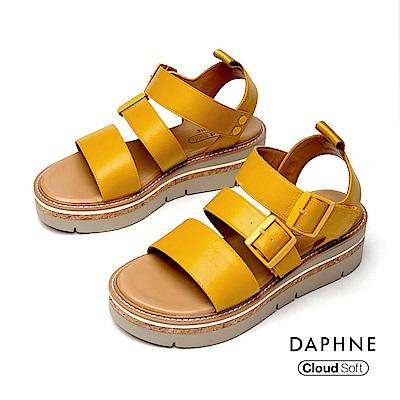 達芙妮DAPHNE 涼鞋-休閒寬版舒適厚底羅馬涼鞋-黃色