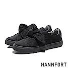 HANNFORT CAMPUS絨感蝴蝶結厚底休閒鞋-女-絨黑