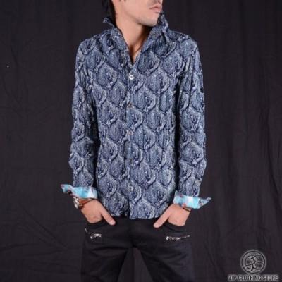時尚抓皺印花長袖襯衫(2色) ZIP日本男裝