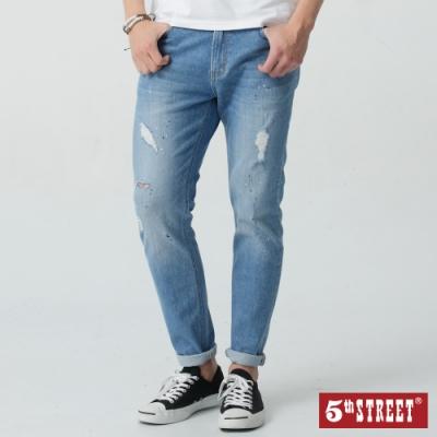5th STREET 復古石洗破壞 窄直筒牛仔褲-男-拔洗藍
