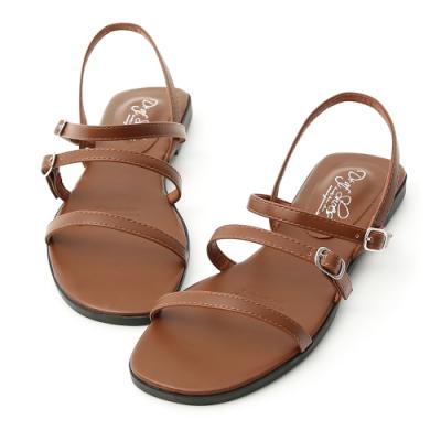 D+AF 簡單個性.三條釦環帶平底涼鞋*棕