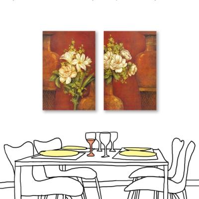 24mama掛畫-二聯式 紅色藝術 古感花卉 油畫風無框畫 40X60cm-紅瓶白花