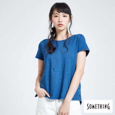 SOMETHING 大綁結兩面穿 短袖T恤-女-中古藍