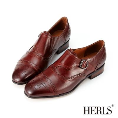 HERLS孟克鞋-光澤全真皮雕花單釦孟克鞋牛津鞋-紅棕色