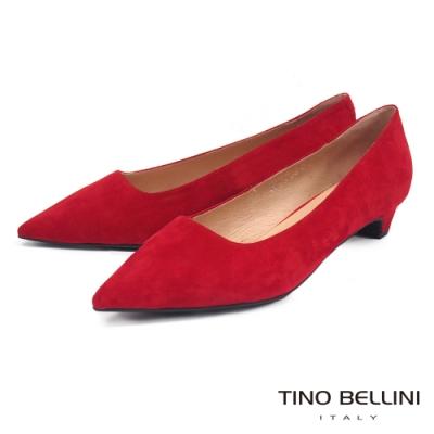 Tino Bellini 啞光羊麂皮尖楦低跟鞋 _紅
