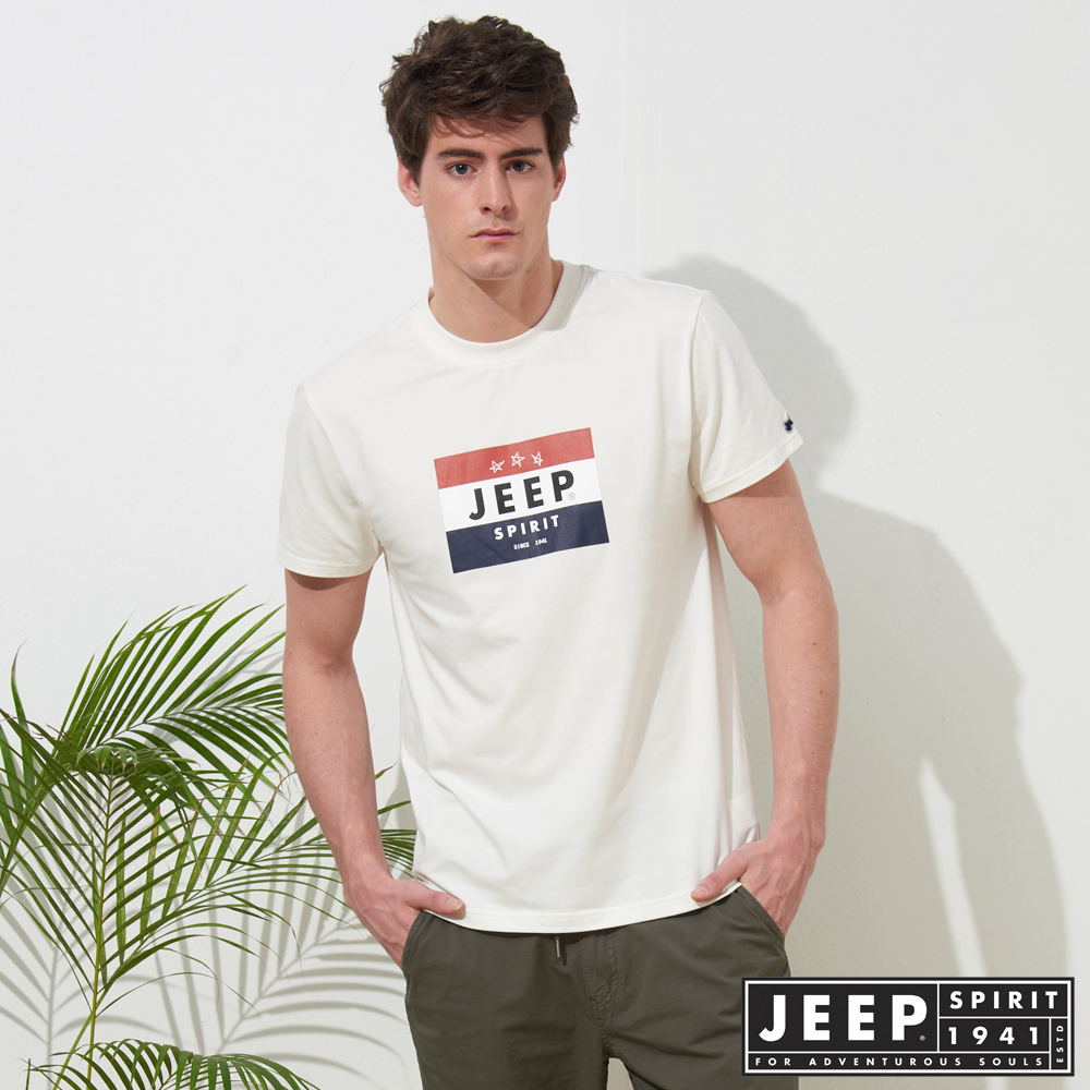 JEEP 品牌LOGO造型短袖TEE-白色
