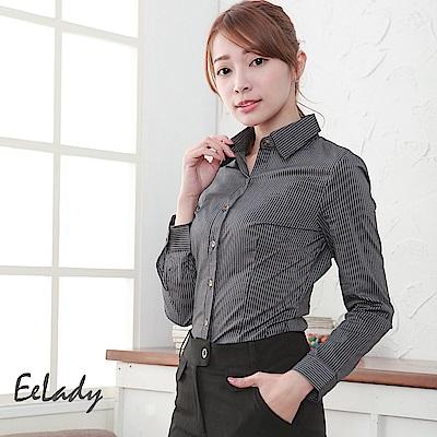 EELADY-OL都會優雅條紋長袖襯衫(黑色)