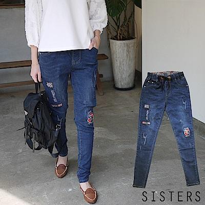 美式徽章破感抓鬚鬆緊腰小直筒窄管牛仔褲 (S-3L) SISTERS