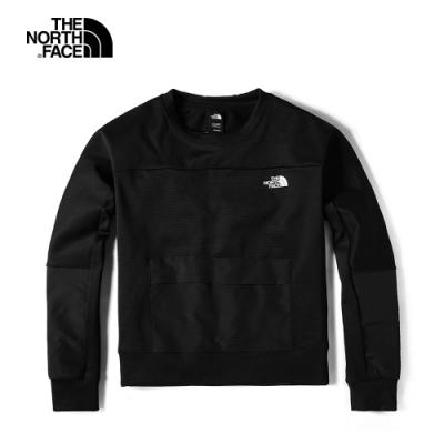 The North Face北面女款黑色吸溼排汗拼接大口袋長袖上衣|4AQPJK3
