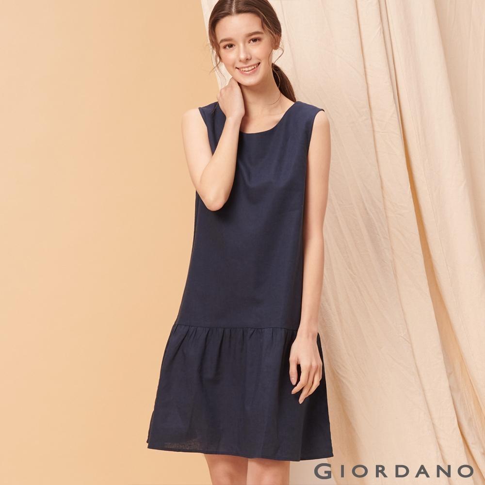 GIORDANO 女裝自然棉麻系列無袖連身裙-66 標誌海軍藍