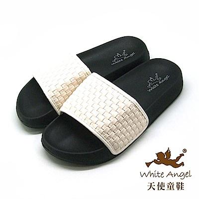 天使童鞋 時尚編織防水拖鞋(超大童)K895C 白