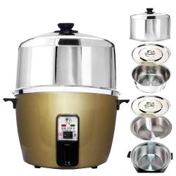 天蠶10人份香檳金電鍋YL-10A7(304不鏽鋼加高電鍋蓋+內鍋及鍋蓋+懸空內鍋及鍋蓋)