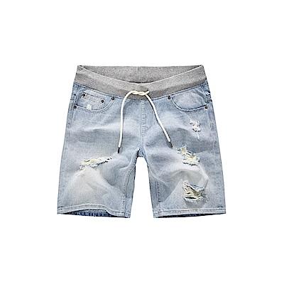 CACO-羅紋褲頭牛仔短褲-(兩色)-男【SAR017】