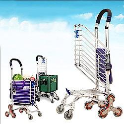 媽媽咪呀 頂級加粗八輪爬梯購物車-加贈防水購物袋.掛勾.綑綁繩