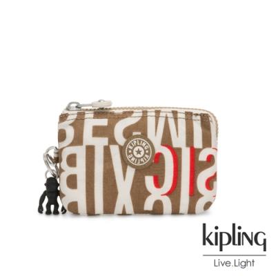 Kipling 音樂派對復古卡其字母印花三夾層配件包-CREATIVITY S