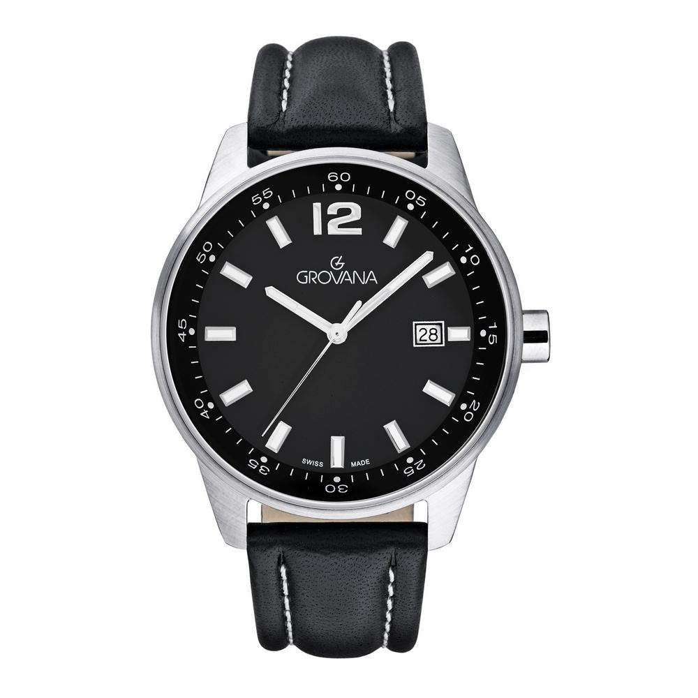 (福利品) GROVANA瑞士錶 當代系列石英男錶(7015.1537)-黑面x黑色皮帶/41mm