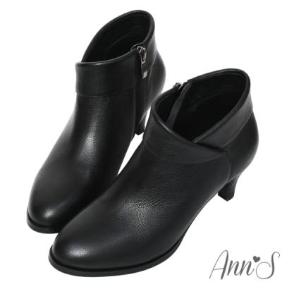 Ann'S瑪麗安-優雅側V顯瘦小羊皮低跟短靴-黑