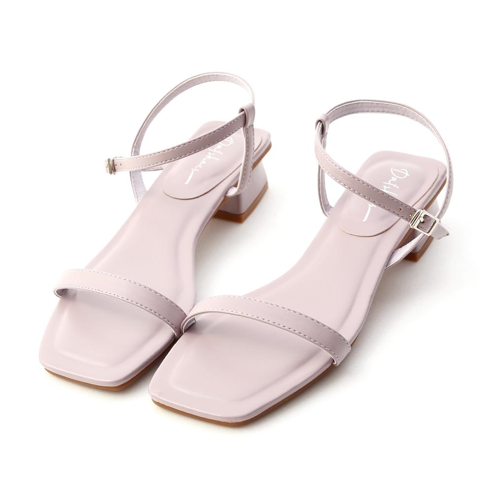 D+AF 浪漫輕夏.一字繫踝方頭低跟涼鞋*紫