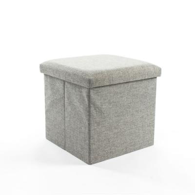樂嫚妮 亞麻折疊收納椅凳/收納箱-38X38X38cm-灰