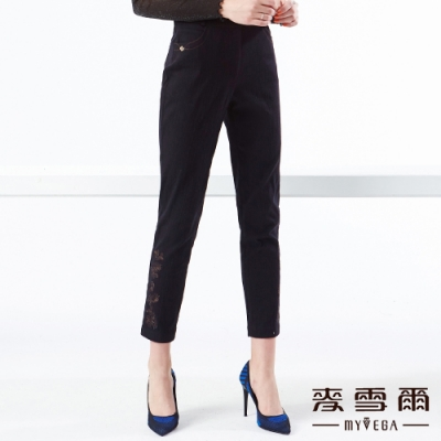【麥雪爾】褲腳花朵刺繡彈力雙口袋長褲