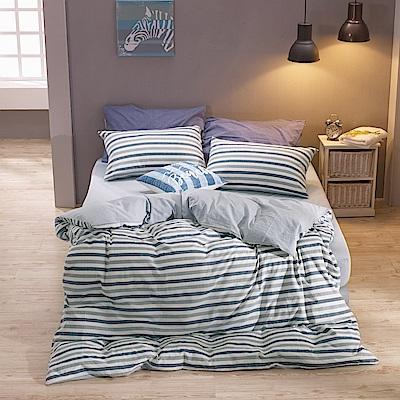 鴻宇 雙人加大床包枕套組 色織水洗棉 希爾達 台灣製
