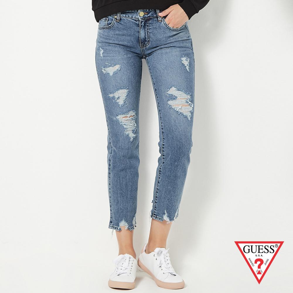 GUESS-女裝-褲管刷破牛仔褲-藍 原價4790