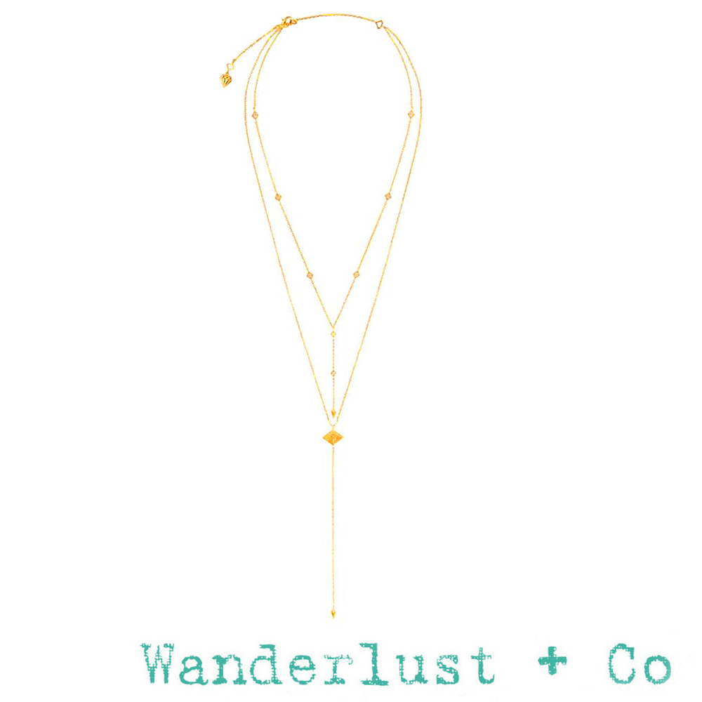 Wanderlust+Co 澳洲品牌 希臘女神鑲鑽項鍊 金色雙層垂墜式Y字鍊 ARYA
