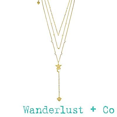 Wanderlust+Co Stella 金色星星月亮三層項鍊