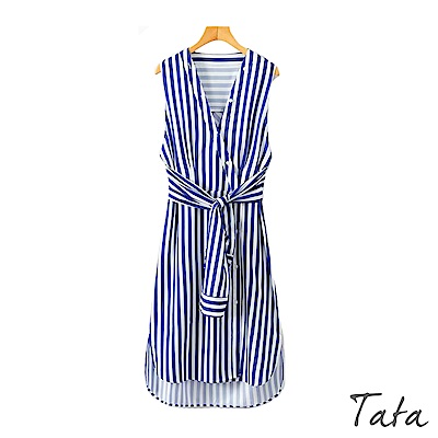 V領排扣繫腰無袖條紋洋裝 TATA