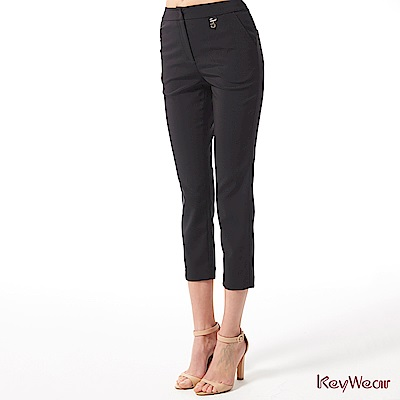 KeyWear奇威名品    時尚女性商務九分褲-黑色