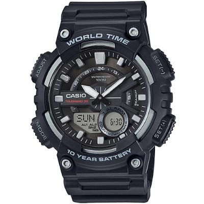 CASIO 暴風城市之鑰雙顯運動錶-黑(AEQ-110W-1A)/46mm