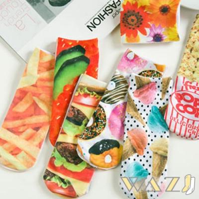 Wazi-趣味3D列印圖案短襪踝襪 (1組五入 款式隨機)