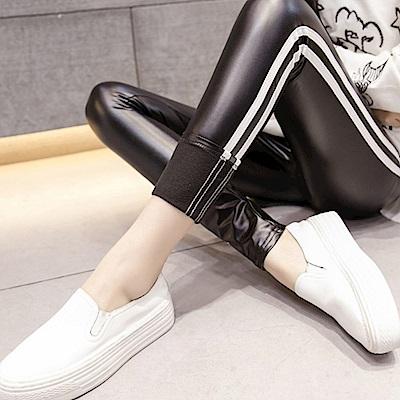 La Belleza鬆緊腰白色雙槓條紋滾邊皮褲內裡刷毛PU皮質黑色內搭褲