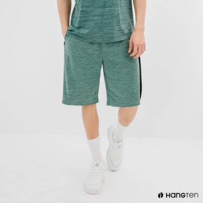 Hang Ten-男裝-恆溫多功能-REGULAR FIT標準鳥眼吸排紗涼感抗菌除臭撞色運動短褲-綠色