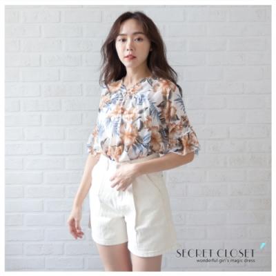 Secret Closet-甜美印花露肩雪紡上衣