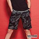 BIG TRAIN 加大黑亂紋迷彩仿丹寧短褲-男-黑色