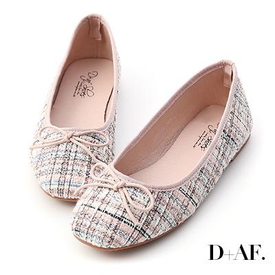 D+AF 浪漫秋氛.格紋毛呢芭蕾娃娃鞋*粉