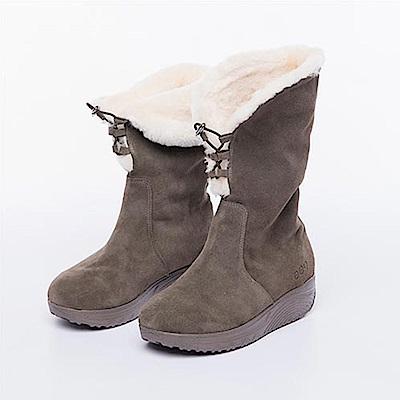 ee9 芯滿益足~ 2way頂級牛麂皮反摺保暖舒適羊毛中筒靴*卡其