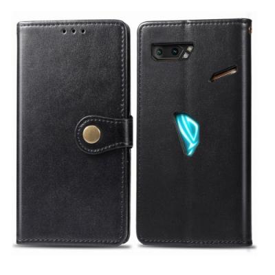 PKG ASUS ROG Phone II ZS660KL側翻皮套-磁吸銅扣皮套-黑