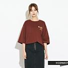 H:CONNECT 韓國品牌 女裝-電繡文字五分袖T-shirt-棕