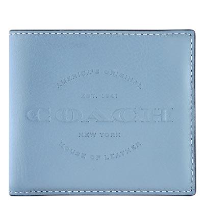 COACH 天藍色皮革壓紋雙摺十卡中夾